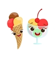Ice-Cream Kids Birthday Party Happy Smiling vector image vector image