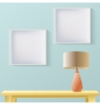 Interior room realistic mockup with frame or vector image vector image