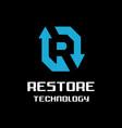 letter r for restore logo vector image
