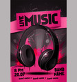 live electro music party poster with headphone vector image vector image
