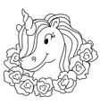 magic unicorn isolated coloring page for vector image