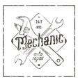 Mechanic auto repair label Vintage tee design vector image