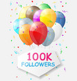 milestone 100000 followers background vector image