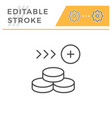 money editable stroke line icon vector image vector image