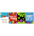 monster bash party cards or banners set flat vector image vector image