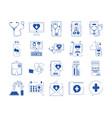 online doctor health medicine care blue line style vector image