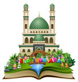 open book with happy islamic kids and colorful tex vector image vector image