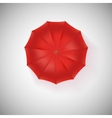 Opened red umbrella top view closeup vector image