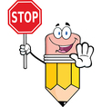 Pencil Cartoon Character Holding A Stop Sign vector image vector image