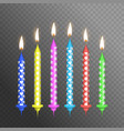 realistic detailed 3d birthday cake candles set vector image vector image