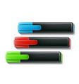 realistic highlighter pen 3d markers set vector image vector image