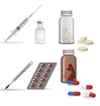 Realistic medical icons syringe pills jar vector image