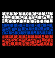 russia flag mosaic of police shield objects vector image