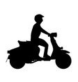 scooter rider silhouette vector image vector image