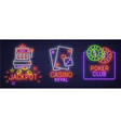 set neon logo label emblem casino and poker vector image