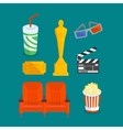 set various cinema entertainment things vector image