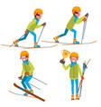 skiing young man man enjoying snow vector image