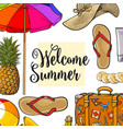 square banner of summertime vacation attributes vector image vector image