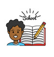 student with open notebook and pencil tool vector image vector image