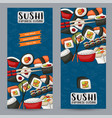 sushi bar and asian restaurant vertical banner vector image