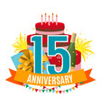 template 15 years anniversary congratulations vector image