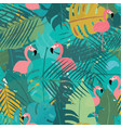 Tropical summer flamingos and leaves seamless