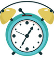 turquoise twin bell alarm clock in flat style vector image