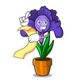 with menu iris flower mascot cartoon vector image