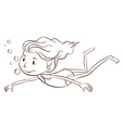 A plain sketch of a girl swimming vector image vector image