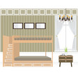 bedroom interior design bunk beds vector image vector image