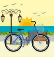 bicycle in the beach scene vector image vector image