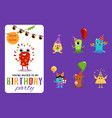 birthday party invitation card and monsters set vector image vector image