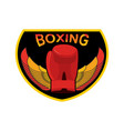 boxing logo gloves and wings emblem for sports vector image vector image
