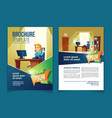 brochure template with cartoon office vector image vector image