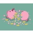 Broken Piggy bank vector image