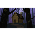 Cabin in Woods - Night vector image vector image