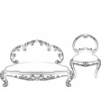 Classic royal armchair and sofa set vector image vector image