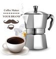 coffee realistic coffee kettle and fresh vector image vector image