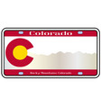 colorado rocky mountain plate vector image vector image
