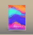 cover of diary or notebook neon rainbow poly vector image