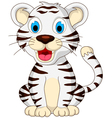 cute baby white tiger sitting vector image