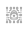 cyber lock web security cryptography line icon vector image vector image