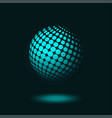 dotted halftone sphere on dark blue background vector image vector image