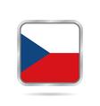 Flag of Czech Republic Metallic square button vector image