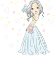 girl bride in her wedding dress vector image vector image