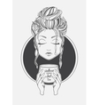 Girl drinking coffee Black and White print line vector image vector image