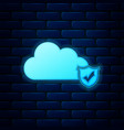 glowing neon cloud and shield with check mark icon vector image vector image