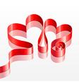 heart shaped red ribbon vector image