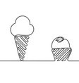 ice cream is black continuous line drawing vector image