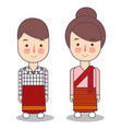 laos wedding couple cute indonesian traditional vector image vector image